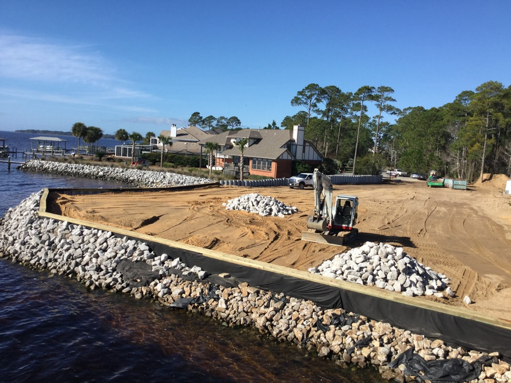 Escambia beach wall construction